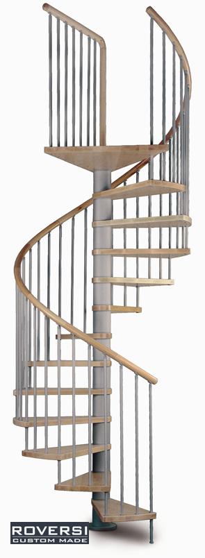 Scala a chiocciola con gradini e corrimanoin legno - Gradini per scale a chiocciola ...
