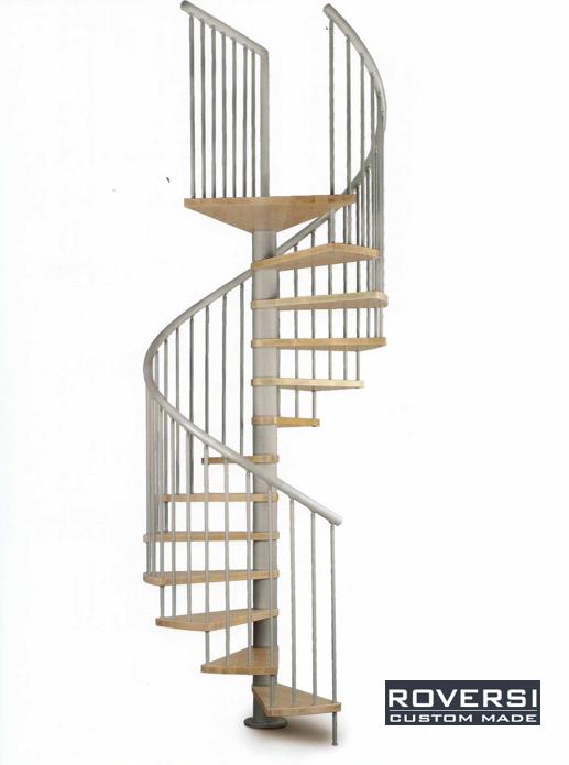 Scala a chiocciola con gradini in legno e corrimano pvc for Schemi di scala a chiocciola