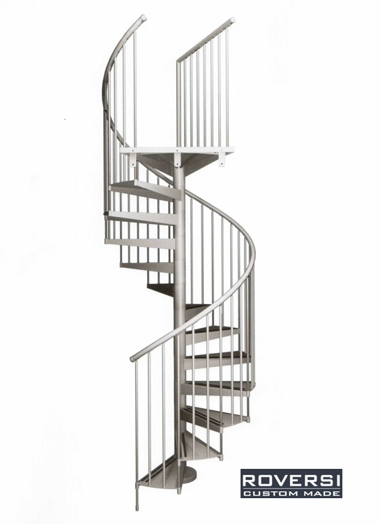 Scala a chiocciola metallo per esterno corrimano pvc ring - Cancelletti per scale a chiocciola ...